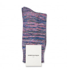 Democratique Socks Relax Chunky Flat Knit Supermelange 6-pack Pink Fleur - Army - Off White - Light Diesel