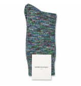 Democratique Socks Relax Chunky Flat Knit Supermelange 6-pack Adams Blue - Dark Ocean Blue - Off White - Grass Green