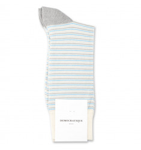 Democratique Socks Originals Ultralight Stripes 6-pack Off White / Soft Grey / Stone / Palm Springs Blue