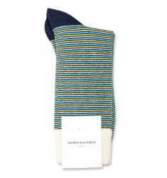 Democratique Socks Originals Ultralight Stripes 6-pack Navy / Yellow Sun / Swimmingpool / Off White