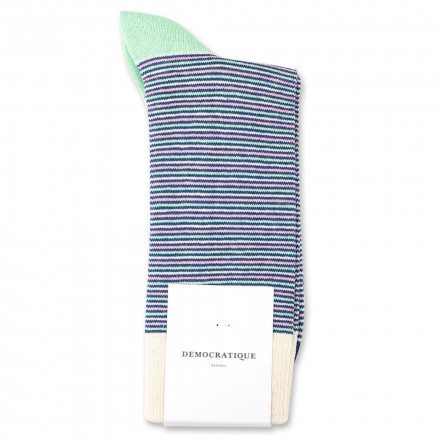 Democratique Socks Originals Ultralight Stripes Organic Cotton New Blue / Off White / Pale Green / Soft Pink