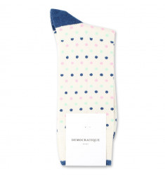 Democratique Socks Originals Polkadot 6-pack Off White / New Blue / Pale Green / Soft Pink