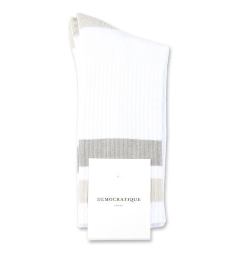 Democratique Socks Athletique Classique Stripes 6-pack Clear White / Soft Grey / Stone / Benzin