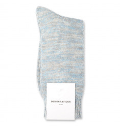 Democratique Socks Relax Chunky Flat Knit Supermelange 6-pack Soft Grey / Stone / Off White / Palm Springs Blue