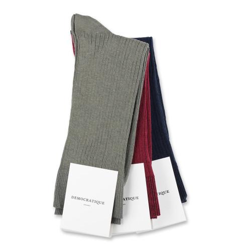 Democratique Socks Originals Fine Rib 6x3-pack Red Wine / Navy / Army