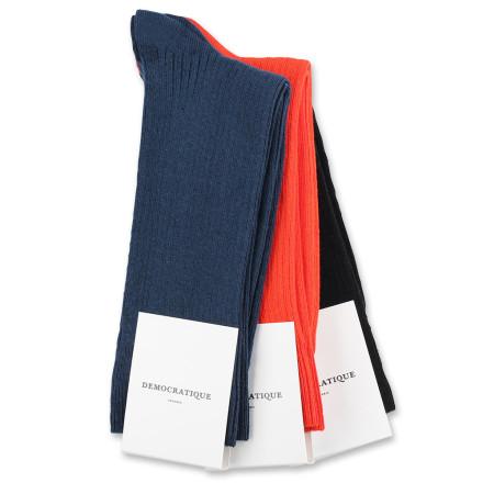 Democratique Socks Originals Fine Rib 6x3-pack Black / Okker Orange / Heavy Emerald