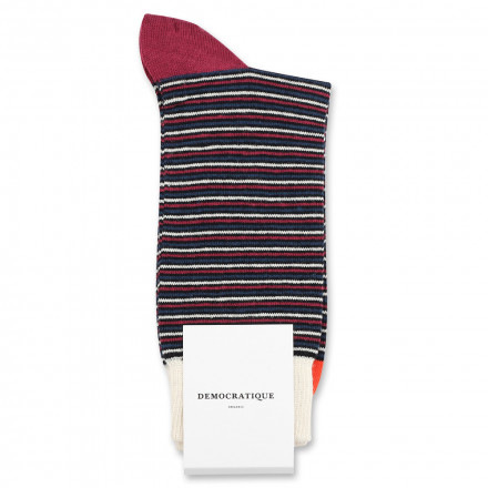 Democratique Socks Originals Ultralight Stripes 6-pack Black / Heavy Emerald / New Red / Okker Orannge / Off White