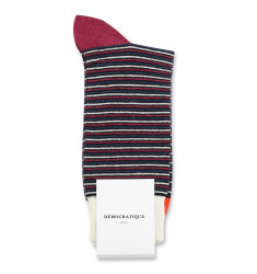 Democratique Socks Originals Ultralight Stripes 6-pack Black / Heavy Emerald / New Red / Okker Orannge / Off White
