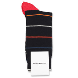 Democratique Socks Originals Spaced Stripes 6-pack Black / Heavy Emerald / New Red / Okker Orange / Off White