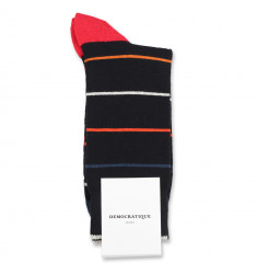 Democratique Socks Originals Spaced Stripes 6-pack Black / Heavy Emerald / New Red / Okker Orange / Off White