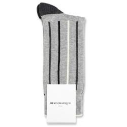 Democratique Socks Originals Latitude Striped 6-pack Light Grey Mel. / Off White / Black / Charcoal Mel.