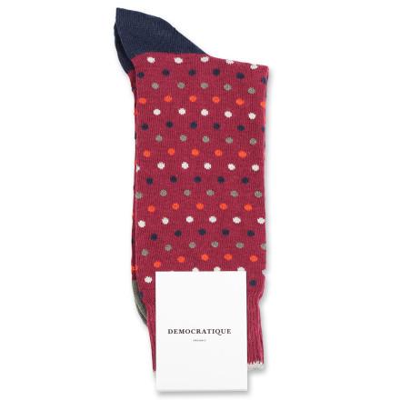 Democratique Socks Originals Polkadot 6-pack Red Wine / Okker Orange / Army / Navy / Off White