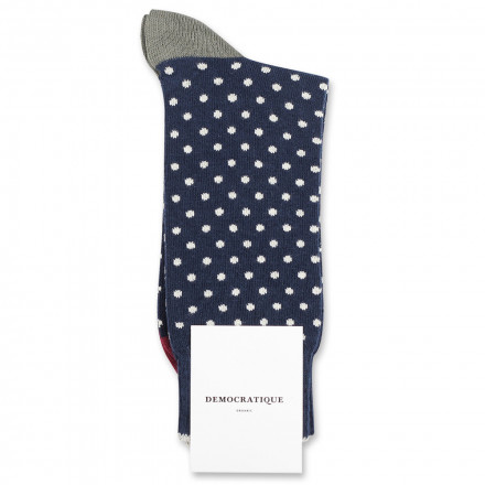 Democratique Socks Originals Polkadot 6-pack Navy / Off White / Red Wine / Army