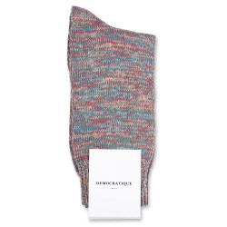 Democratique Socks Relax Chunky Flat Knit Supermelange 6-pack Army / Petroleum / Light Rosso / Light Orange