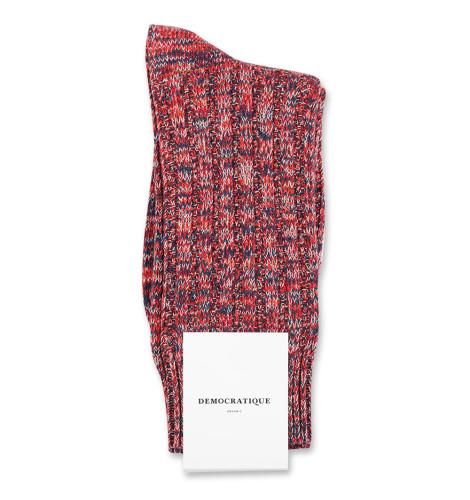 Democratique Socks Relax Schooner Knit Supermelange 6-pack Heavy Emerald / New Red / Okker Orange / Off White
