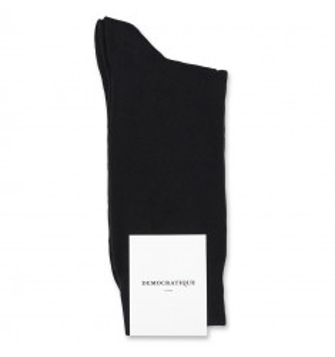 Democratique Socks Originals Solid Black (PIQUE KNITTED AS DS100512-BLK)