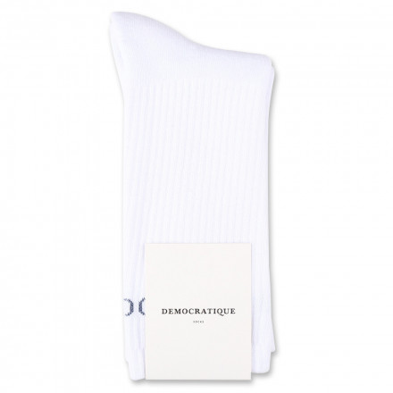 Democratique Socks Athletique Classique Motif Logo Clear White / Shaded Blue Logo
