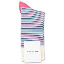 Democratique Socks Originals Ultralight Stripes Palm Springs Blue / Shaded Blue / Off White / Watermelon