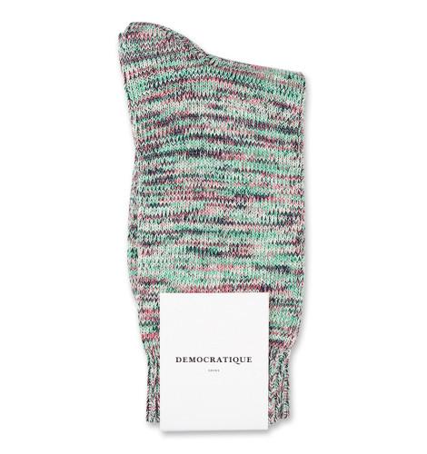 Democratique Socks Relax Chunky Flat Knit Supermelange Greenday / Pale Green / Navy / Watermelon / Off White