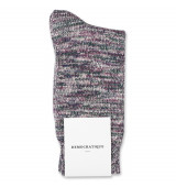 Democratique Socks Relax Chunky Flat Knit Supermelange Pale Pink / Off White / Deep Green / Shaded Blue / Heavy Plum