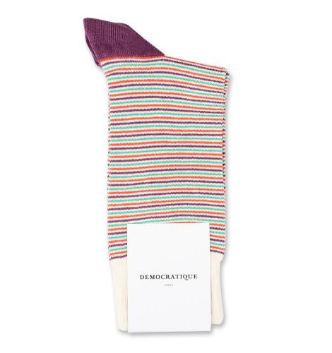 Democratique Socks Originals Ultralight Stripes Off White / Blood Orange / Greenday / Heavy Plum