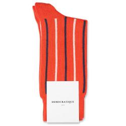 Democratique Socks Originals Latitude Striped Blood Orange / Off White / Shaded Blue
