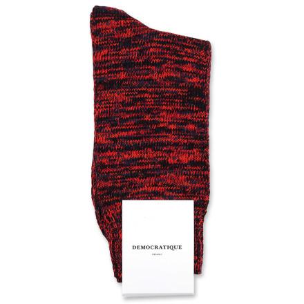 Democratique Socks Relax Chunky Flat Knit Supermelange 6-pack Black / Heavy Emerald / New Red / Okker Orange