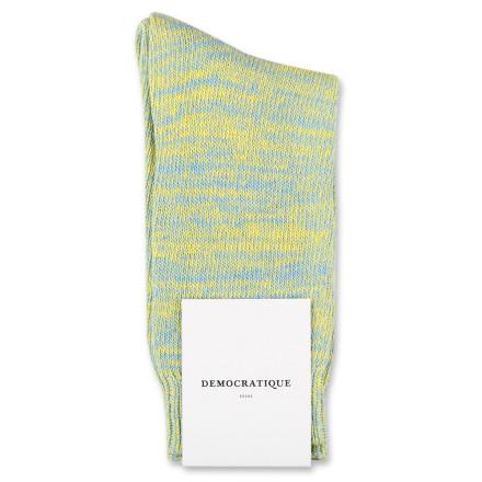 Democratique Socks Relax Chunky Flat Knit Supermelange Palm Springs Blue / Yellow Sun
