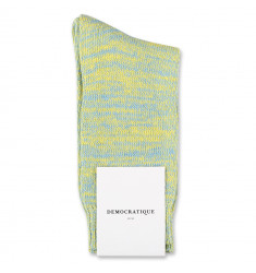 Democratique Socks Relax Chunky Flat Knit Supermelange Palm Springs Blue / Yellow Sun