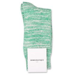 Democratique Socks Relax Chunky Flat Knit Supermelange Green Day / Off White