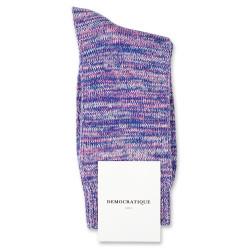 Democratique Socks Relax Chunky Flat Knit Supermelange Blue / Pink Fleur / Off White / Light Diesel