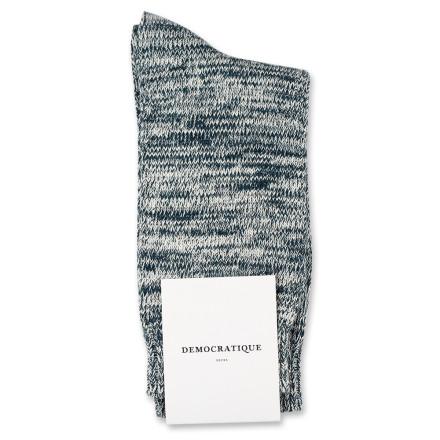 Democratique Socks Relax Chunky Flat Knit Supermelange Dark Emerald / Off White