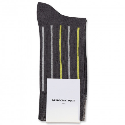 Democratique Socks Originals Latitude Striped 6-pack Warm Grey - Soft Grey - Bright Yellow