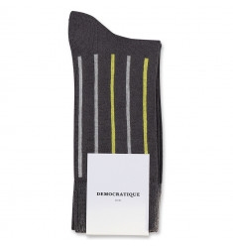 Democratique Socks Originals Latitude Striped 6-pack Warm Grey - Soft Grey - Bright Yellow
