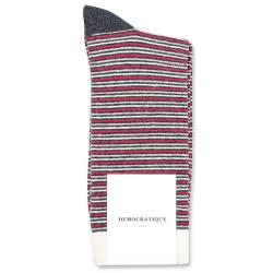 Democratique Socks Originals Ultralight Stripes 6-pack Charcoal Melange - Pearl Red - Light Grey Melange - Off White