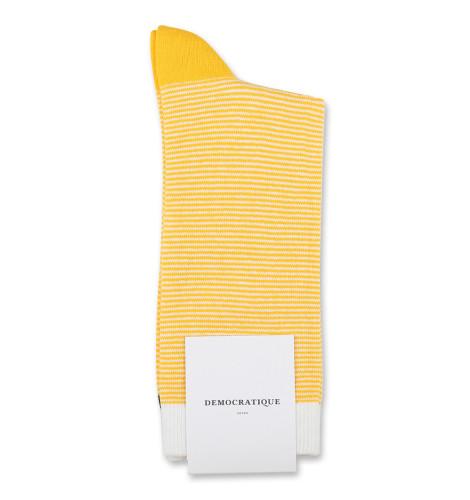 Democratique Socks Originals Ultralight Stripes Dominant Yellow/Off White/Navy 6-pack