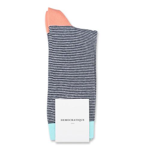 Democratique Socks Originals Ultralight Stripes Navy/Off White/Light Salmon/Poolside Green 6-pack