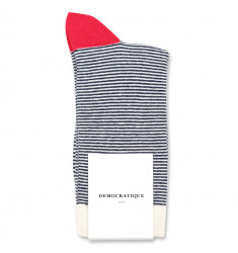 Democratique Socks Originals Ultralight Stripes 6-pack Navy - Off White - Pearl Red