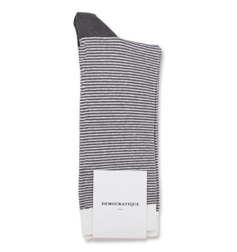 Democratique Socks Originals Ultralight Stripes Warm Coal/Off White/Diesel 6-pack