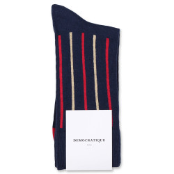 Democratique Socks Originals Latitude Striped 6-pack Navy - Pearl Red - Casual Sand