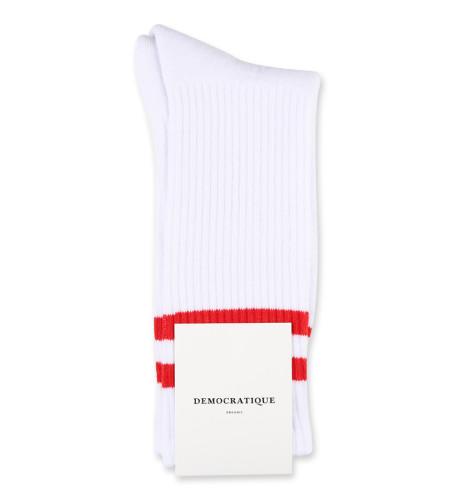 Democratique Socks Athletique Classique Football Stripes White / Red
