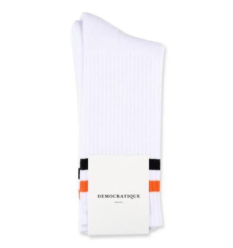 Democratique Socks Athletique Classique Football Stripes White / Dutch Orange / Black