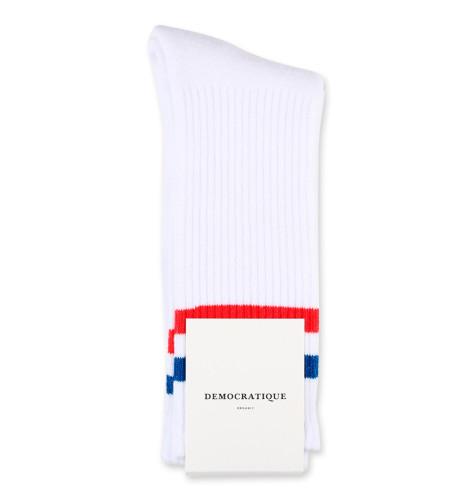 Democratique Socks Athletique Classique Football Stripes White / Blue / Red
