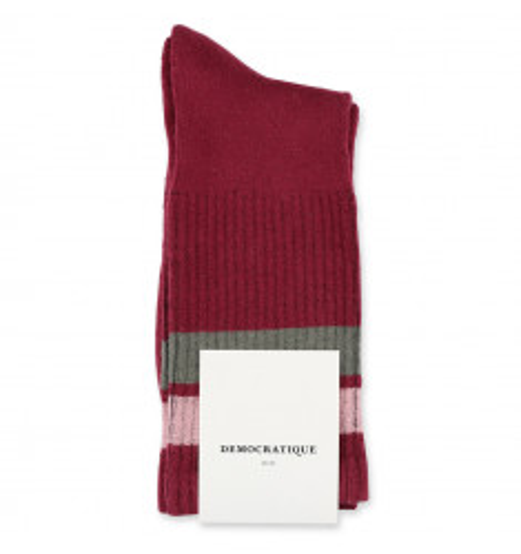 Democratique Socks Athletique Classique Stripes 6-pack Red Wine - Pale Skin - Army