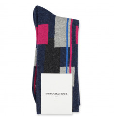 Y E E S P R E E + Democratique Socks Originals Patchwork 6-pack Navy Mel-Light Grey Mel-Charcoal Mel-Adams Blue-Purplish Pink