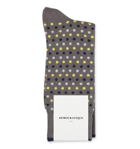 Democratique Socks Originals Polkadot 6-pack Warm Grey - Soft Grey - Bright Yellow - Navy