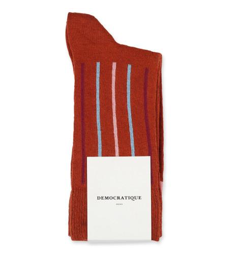 Democratique Socks Originals Latitude Striped 6-pack Burnt Rust - Pale Skin - Red Wine - Palm Springs Blue