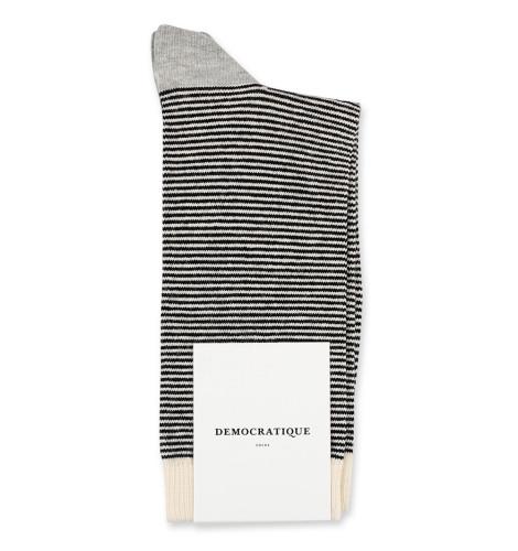 Democratique Socks Originals Ultralight Stripes 6-pack Black - Off White - Light Grey Melange