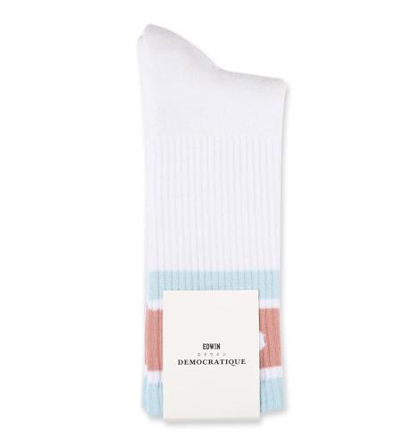 Edwin Jeans x Democratique Socks Athletique OE Logo Type Clear White-Light Blue-Skin