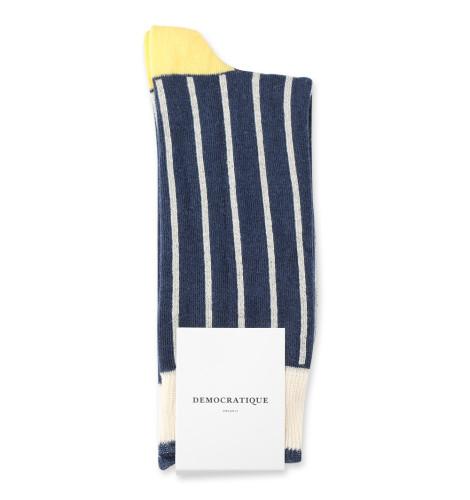 Democratique Socks Originals Latitude Thin Stripes 6-pack Off White / Shaded Blue / Shaded Yellow